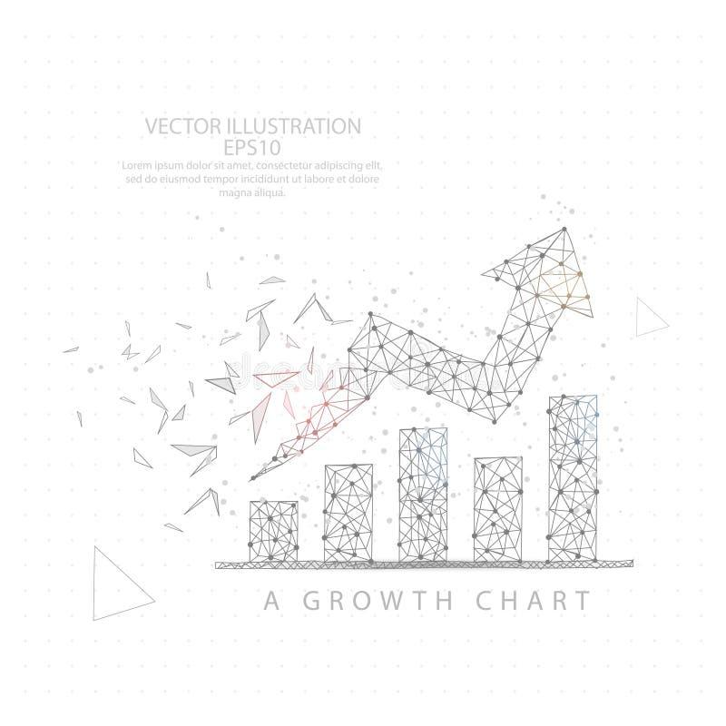 Encima del marco del alambre de la carta del gráfico de la flecha bajo polivinílico stock de ilustración