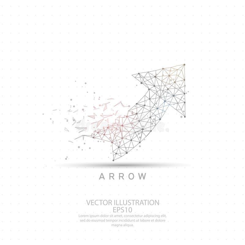 Encima del marco del alambre de la flecha bajo polivinílico ilustración del vector