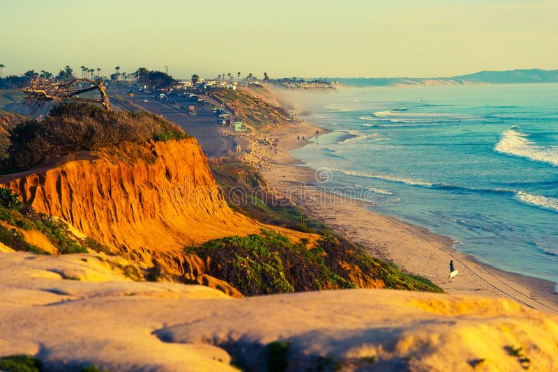 Encinitas海滩在加利福尼亚 免版税图库摄影