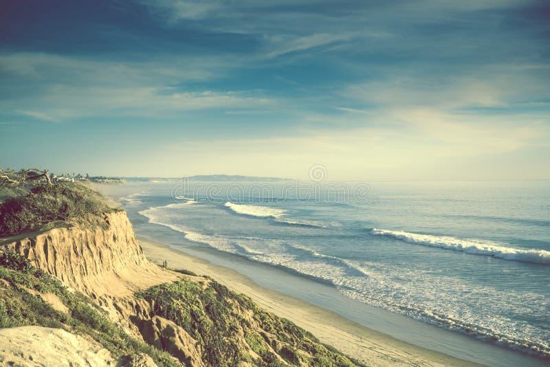 Encinitas California Ocean Shore. United States. Sandstone Cliff and the Sandy Beach stock image