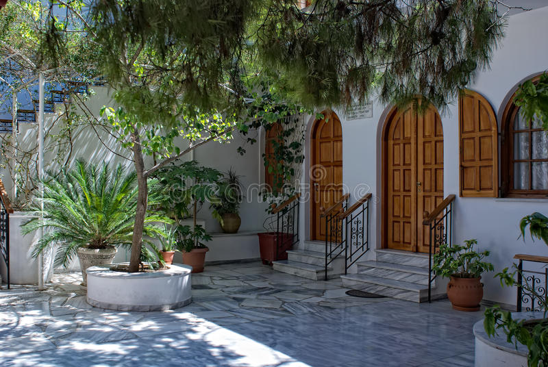 Enclosed court of the Saint Nektarios church. stock image