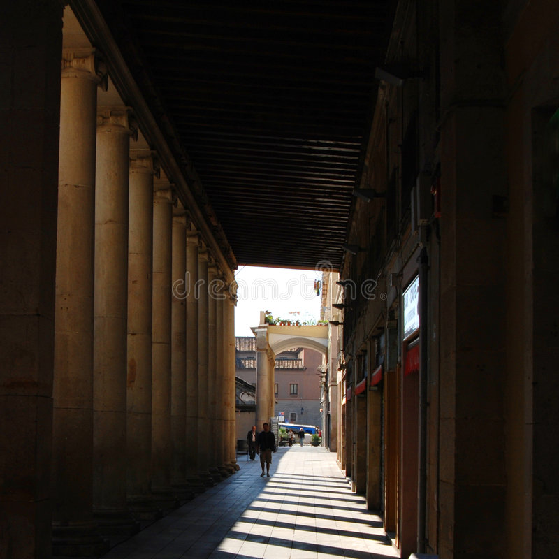 Enclosed Walkway In Barcelona royalty free stock photo