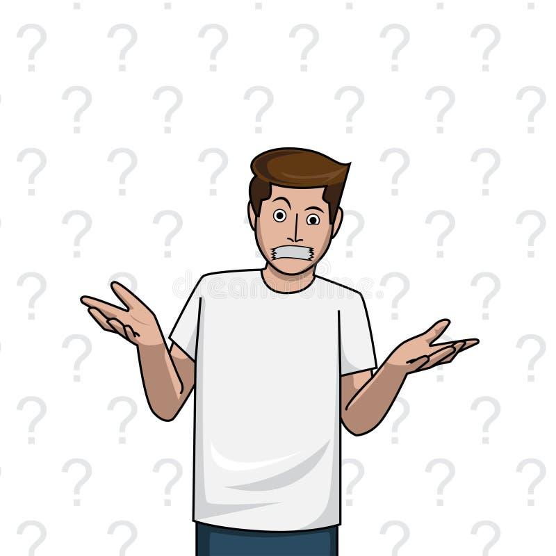Encogimiento de hombros del hombre de la mordaza, duda en el fondo del blanco del signo de interrogación libre illustration