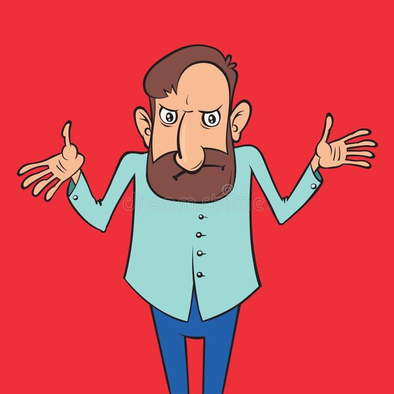 Encogimientos de hombros del hombre de la historieta ilustración del vector