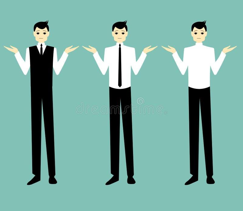 Encolho de ombros considerável do homem de negócios dos desenhos animados fotos de stock royalty free