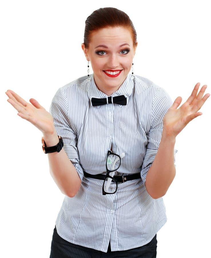 Encolho de ombros nova da mulher ou do professor de negócio fotos de stock