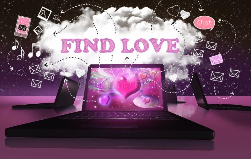 Encontrando o amor com datar em linha do Internet ilustração royalty free