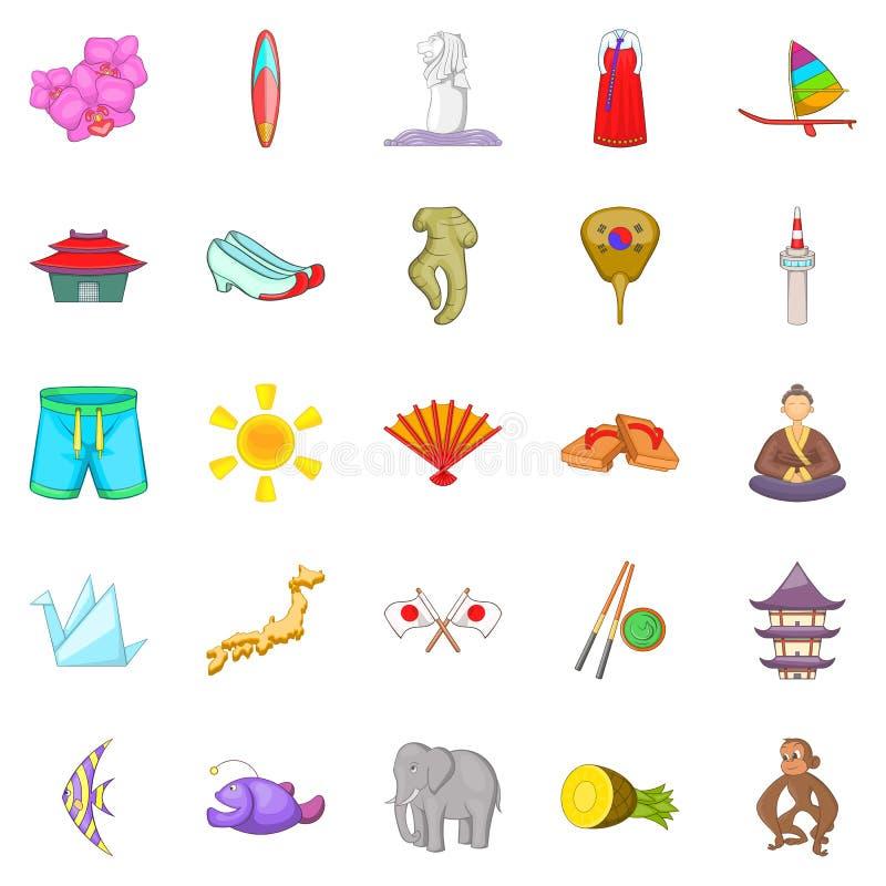 Encontrando-se ícones ajustado, estilo dos desenhos animados ilustração royalty free