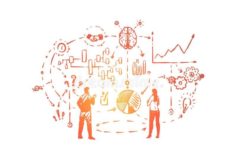Encontrando a solução do problema, planejando antes do previsto, o processo do pensamento, revendo as cartas e os gráficos, conce ilustração stock