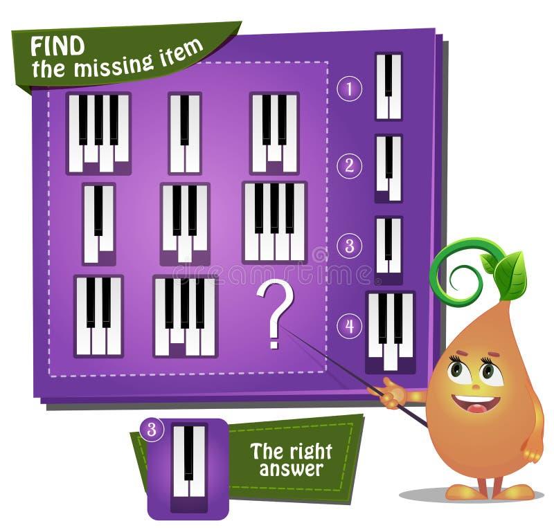 Encontre as chaves faltantes do piano da parte ilustração royalty free
