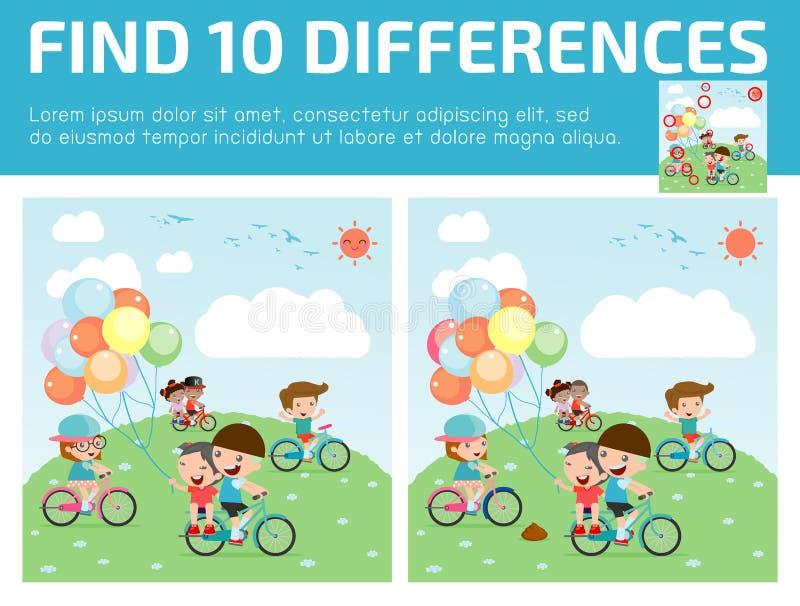 Encontre as diferenças, jogo para crianças, diferenças do achado, jogos do cérebro, jogo das crianças, imagem de stock