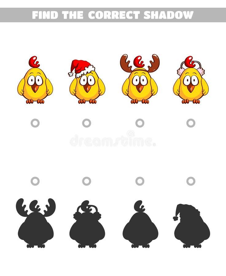 Encontre as galinhas das sombras ilustração royalty free