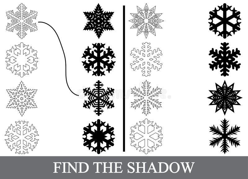 Encontre as silhuetas corretas das sombras dos flocos de neve ilustração do vetor