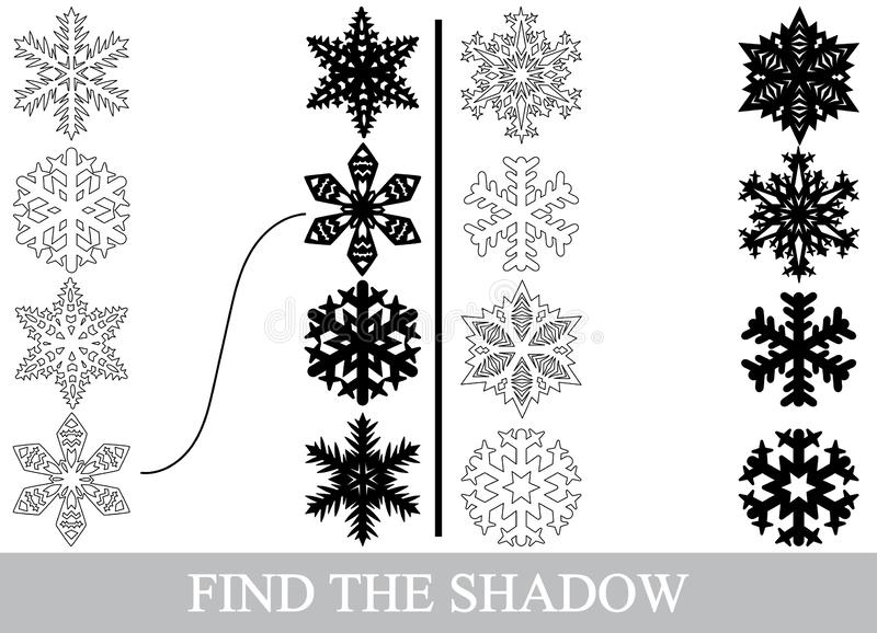 Encontre as silhuetas corretas das sombras dos flocos de neve ilustração stock