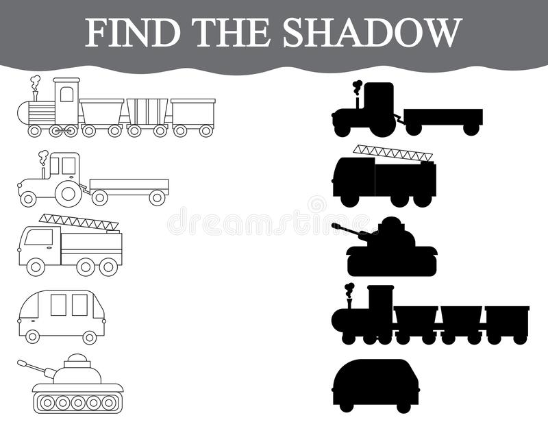 Encontre as sombras corretas do transporte, ajuste-as Transporte da cor Jogo educacional visual ilustração royalty free