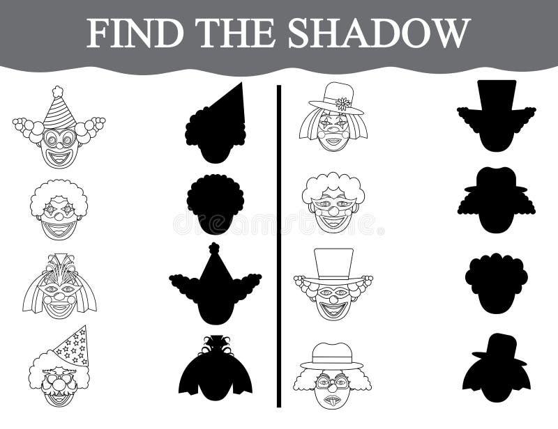 Encontre as sombras das caras dos clown's e colora-as Jogo educacional visual para crianças prées-escolar ilustração do vetor