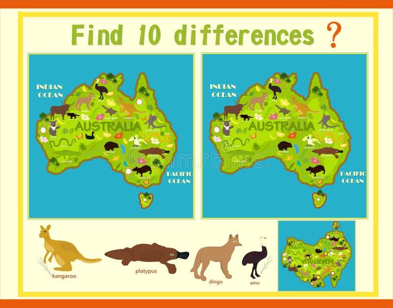 Encontre a diferença no mapa de Austrália com os animais ilustração royalty free