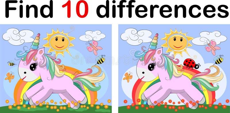 Encontre a diferença o unicórnio dois pequeno funy As crianças falam enigmaticamente o entretenimento Equipamento de construção d ilustração do vetor