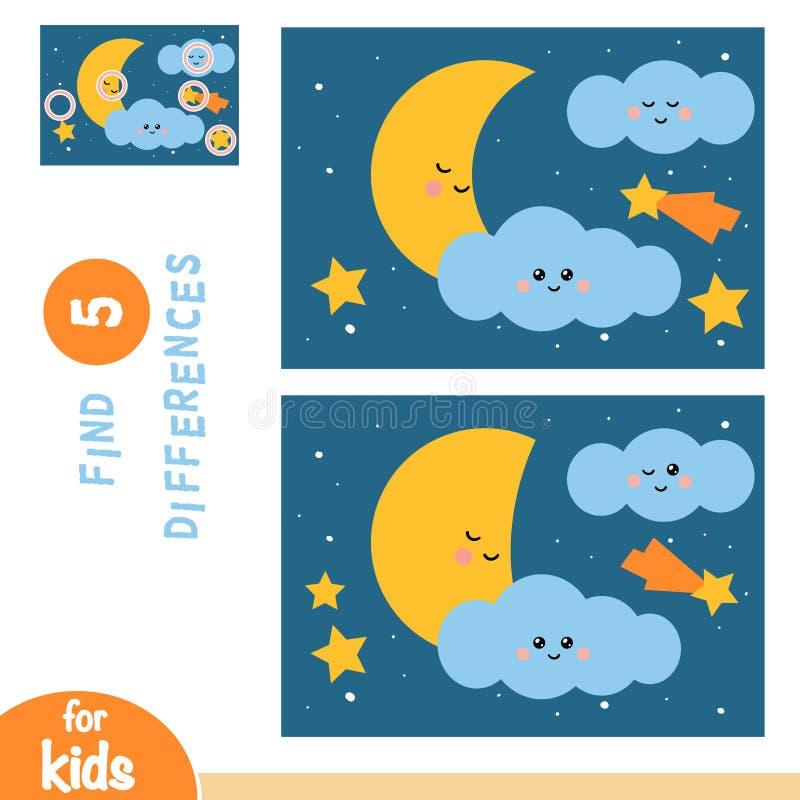 Encontre diferenças, jogo da educação, céu noturno com lua e estrelas ilustração do vetor