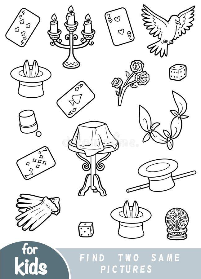 Encontre dois as mesmas imagens, jogo para crianças Ajuste dos artigos do mágico ilustração do vetor