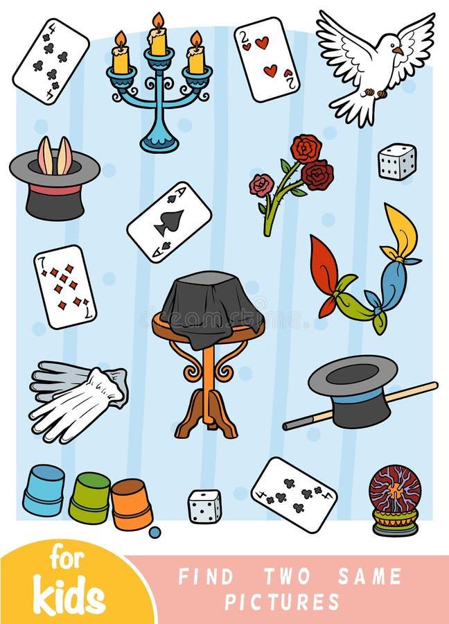 Encontre dois as mesmas imagens, jogo para crianças Grupo de cor de artigos do mágico ilustração royalty free