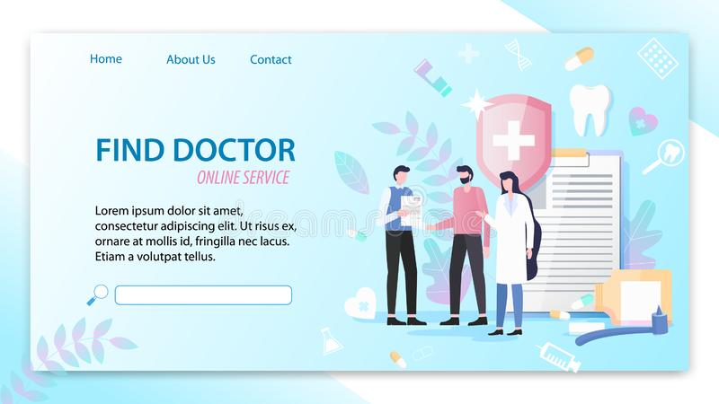Encontre a ilustração do doutor Online Service Vetora ilustração stock