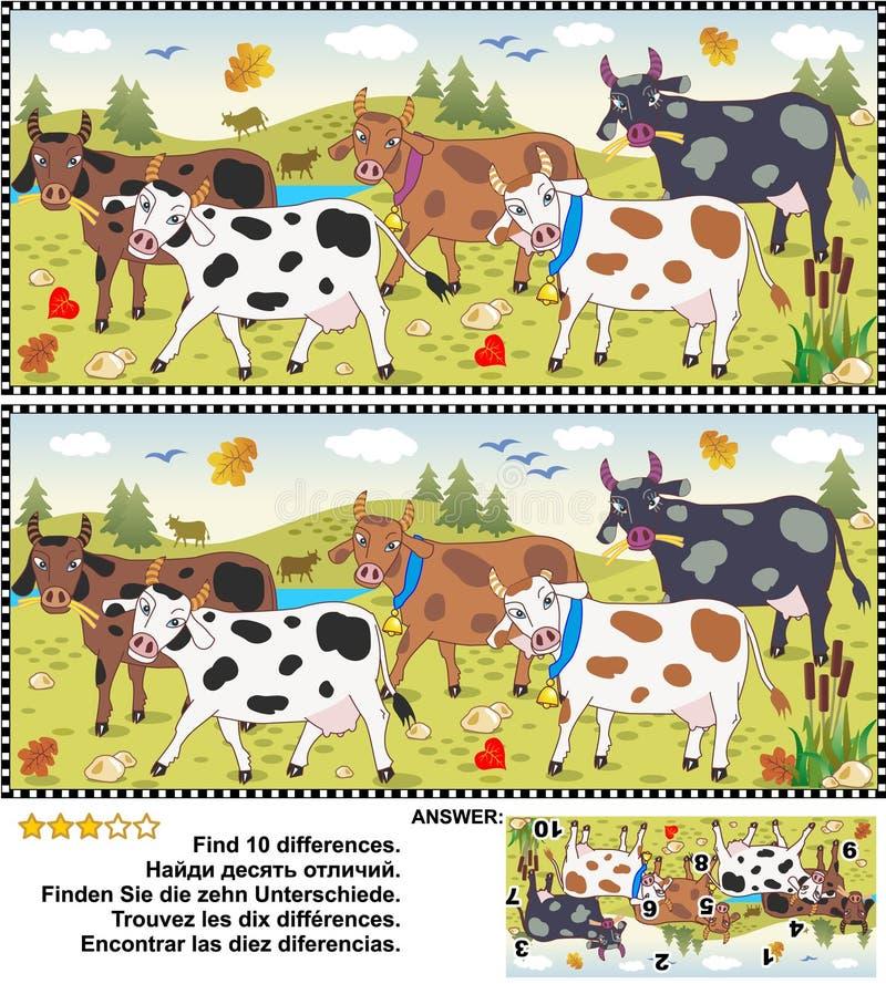 Encontre o enigma da imagem das diferenças - vacas ilustração do vetor