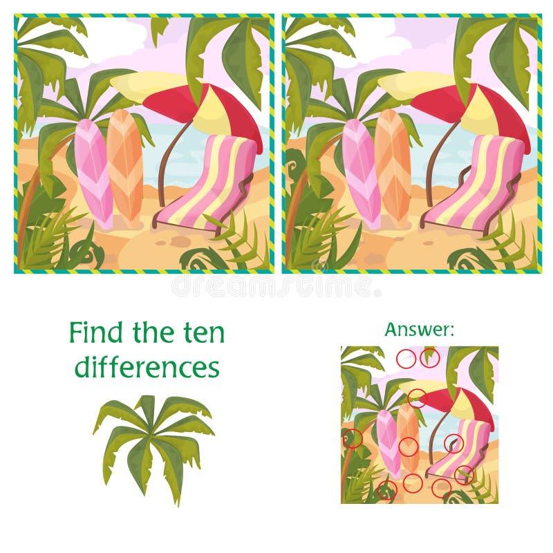 Encontre o enigma de 10 diferenças com resposta Praia e mar do verão dos desenhos animados ilustração royalty free