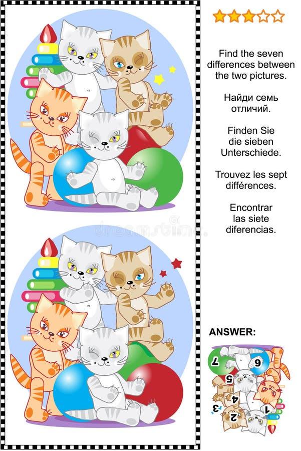 Encontre o enigma visual das diferenças com gatinhos brincalhão ilustração stock