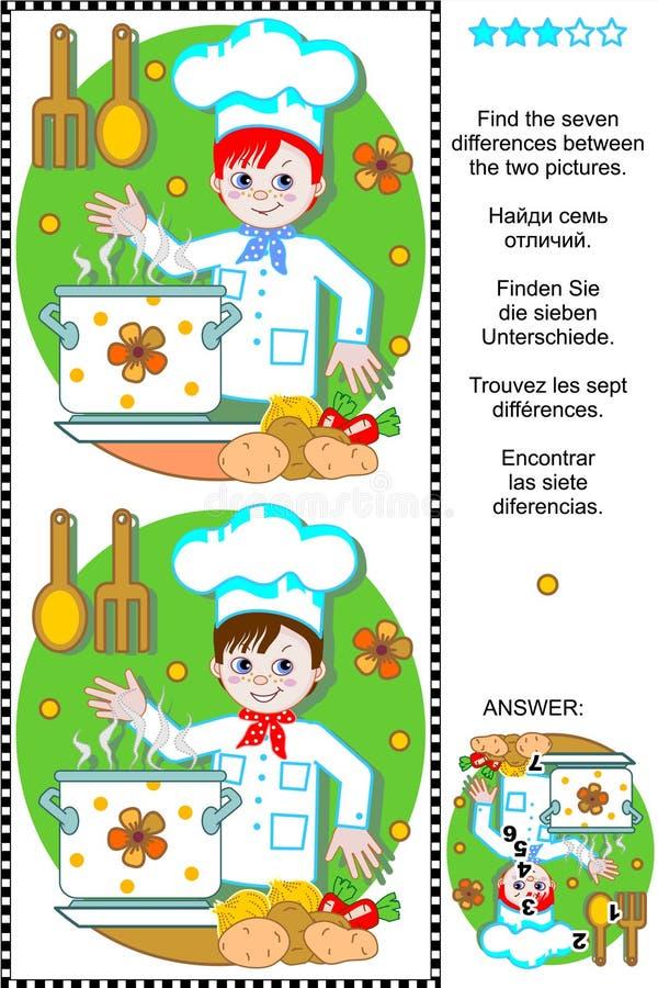 Encontre o enigma visual das diferenças - cozinheiro chefe novo ilustração do vetor