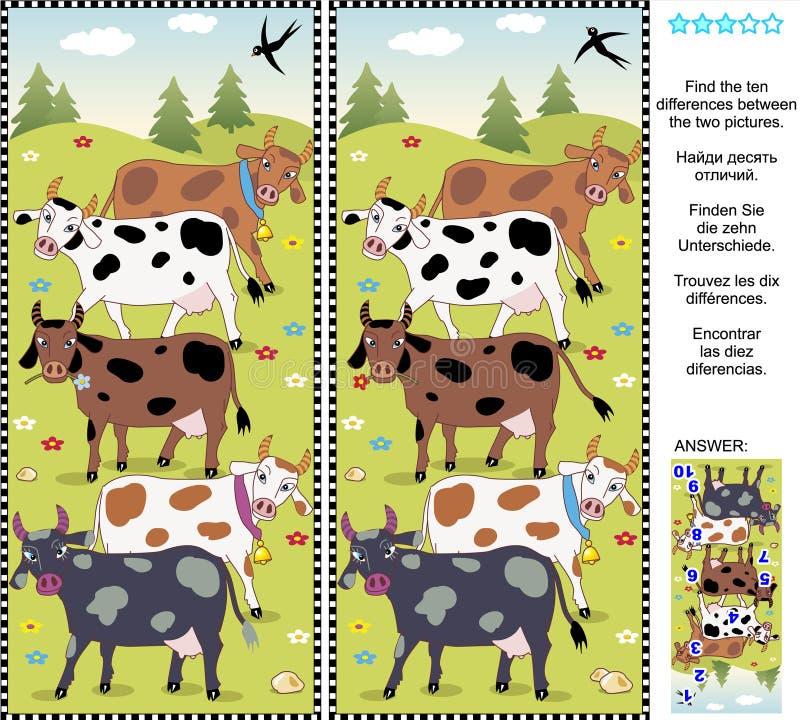 Encontre o enigma visual das diferenças - vacas ilustração royalty free
