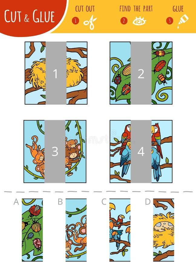 Encontre o jogo direito da parte, do corte e da colagem para crianças Jogo de animais dos desenhos animados ilustração do vetor
