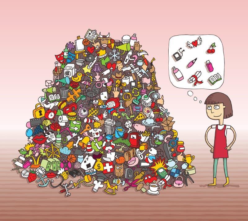 Encontre o jogo do Visual dos objetos Solução na camada escondida! ilustração do vetor