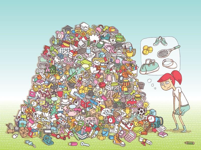 Encontre o jogo do Visual dos objetos Solução na camada escondida! ilustração royalty free