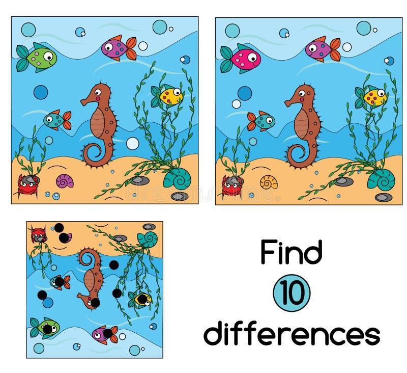 Encontre o jogo educacional das crianças das diferenças Caçoa a folha da atividade ilustração do vetor