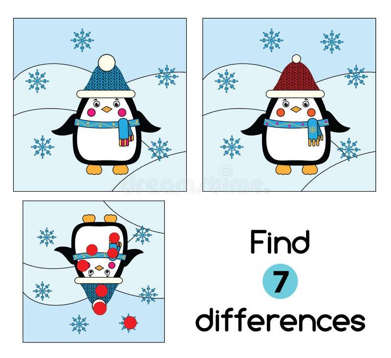 Encontre o jogo educacional das crianças das diferenças Caçoa a folha da atividade, com pinguim Tema do inverno ilustração royalty free
