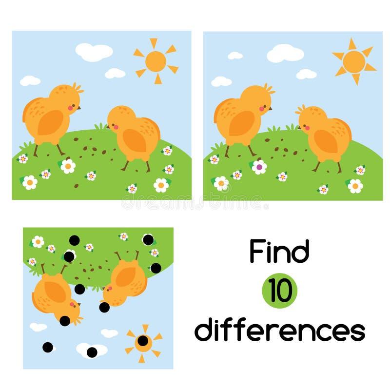 Encontre o jogo educacional das crianças das diferenças Caçoa a folha da atividade com as galinhas na grama ilustração do vetor