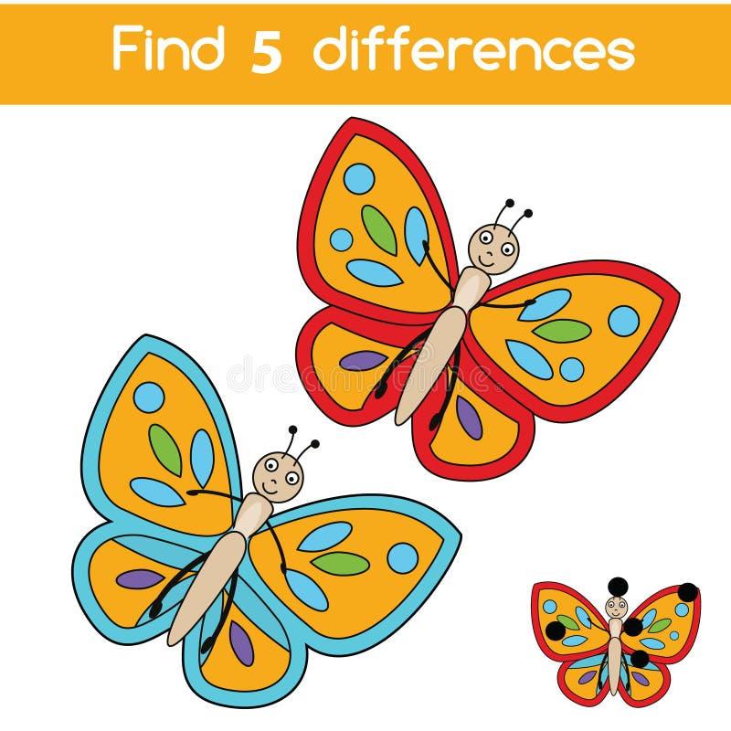Encontre o jogo educacional das crianças das diferenças Caçoa a folha da atividade com borboleta ilustração do vetor