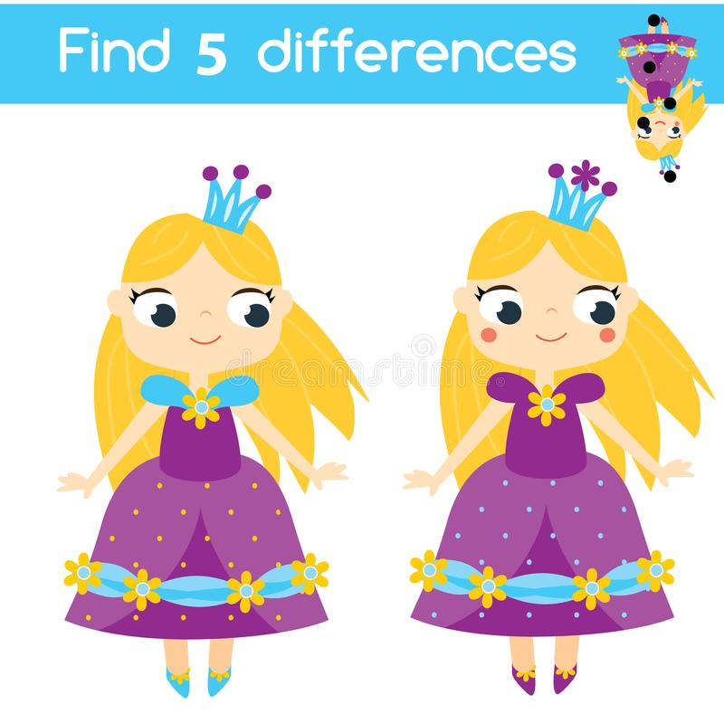 Encontre o jogo educacional das crianças das diferenças Caçoa a folha da atividade com caráter da princesa ilustração stock