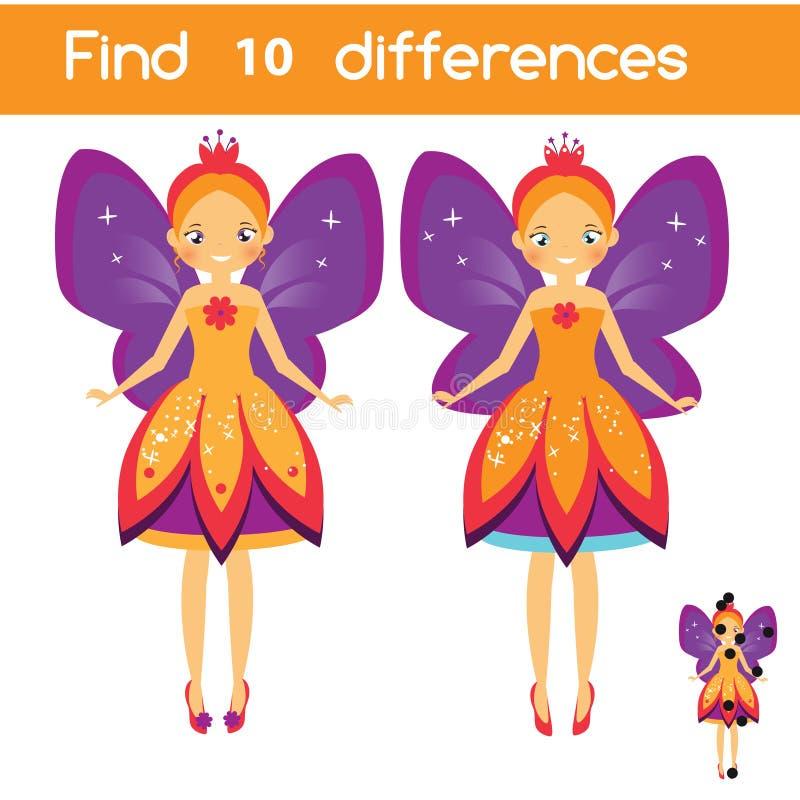 Encontre o jogo educacional das crianças das diferenças Caçoa a folha da atividade com fada do voo ilustração royalty free