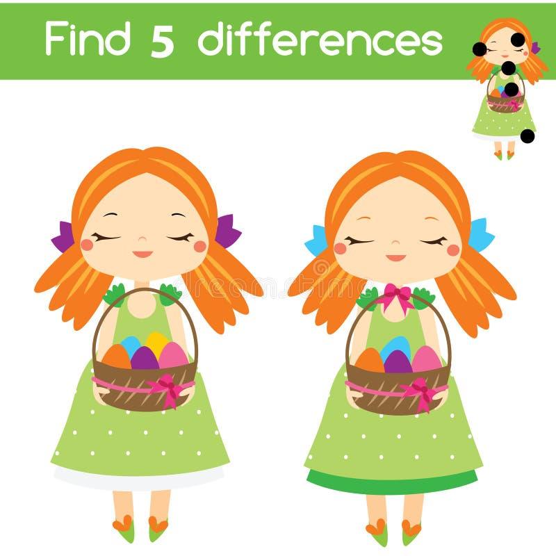 Encontre o jogo educacional das crianças das diferenças Caçoa a folha da atividade Tema de Easter ilustração royalty free