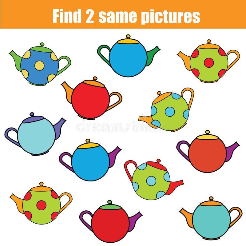 Encontre o mesmo jogo educacional das crianças das imagens, acitivity das crianças ilustração royalty free