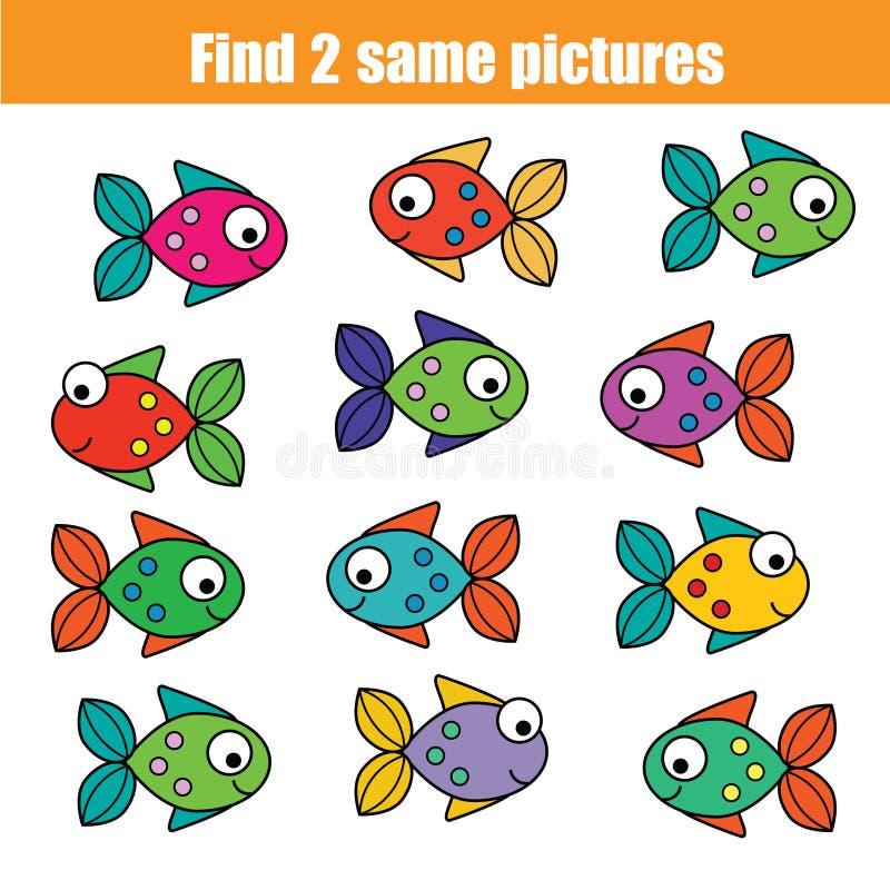 Encontre o mesmo jogo educacional das crianças das imagens com peixes ilustração royalty free