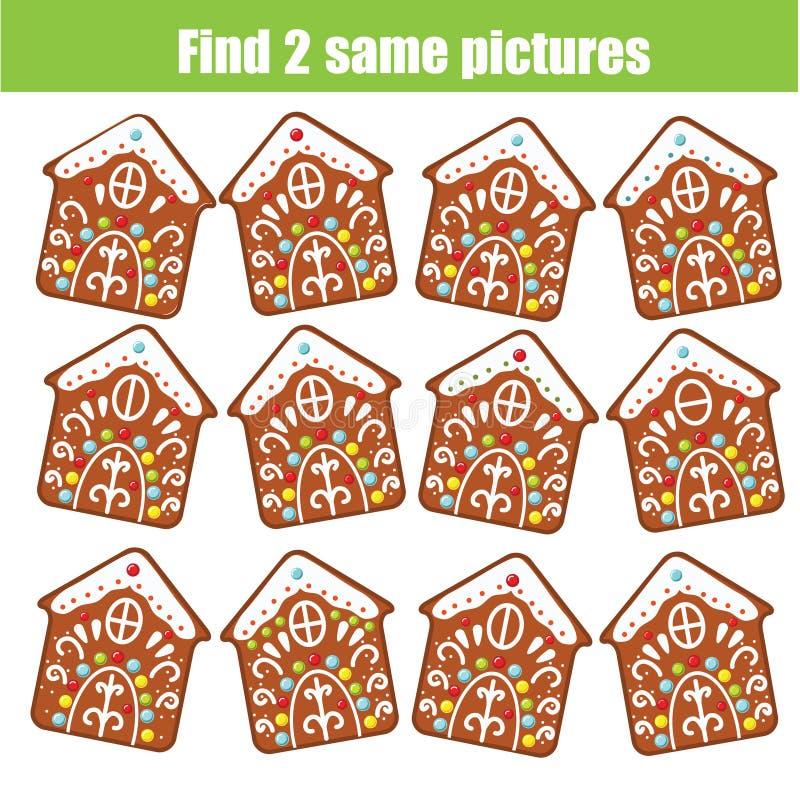 Encontre o mesmo jogo educacional das crianças das imagens Cookies idênticas do pão-de-espécie do Natal do achado dois ilustração stock