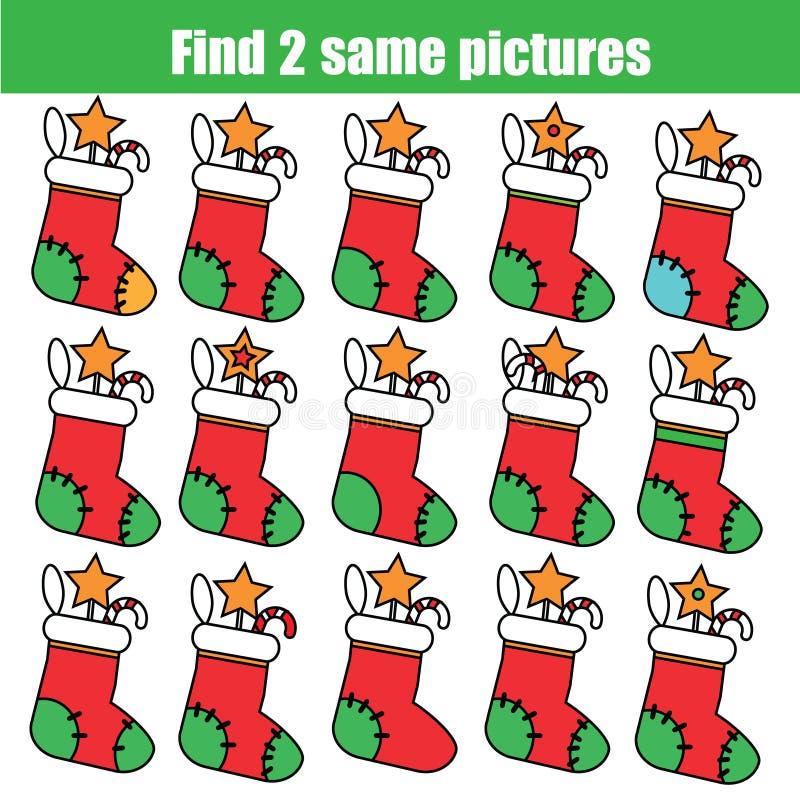Encontre o mesmo jogo educacional das crianças das imagens Natal, tema dos feriados de inverno ilustração stock