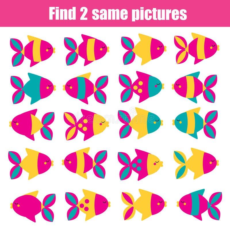 Encontre o mesmo jogo educacional das crianças das imagens Peixes idênticos do achado dois ilustração royalty free