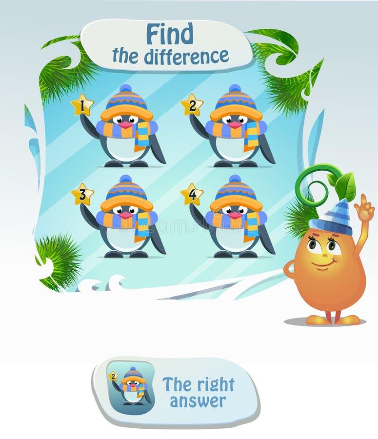 Encontre o pinguim da diferença ilustração stock