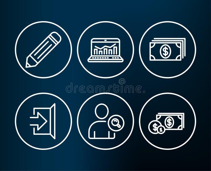 Encontre o usuário, a analítica da Web e os ícones da operação bancária Sinais do dinheiro do lápis, da saída e do dólar ilustração stock