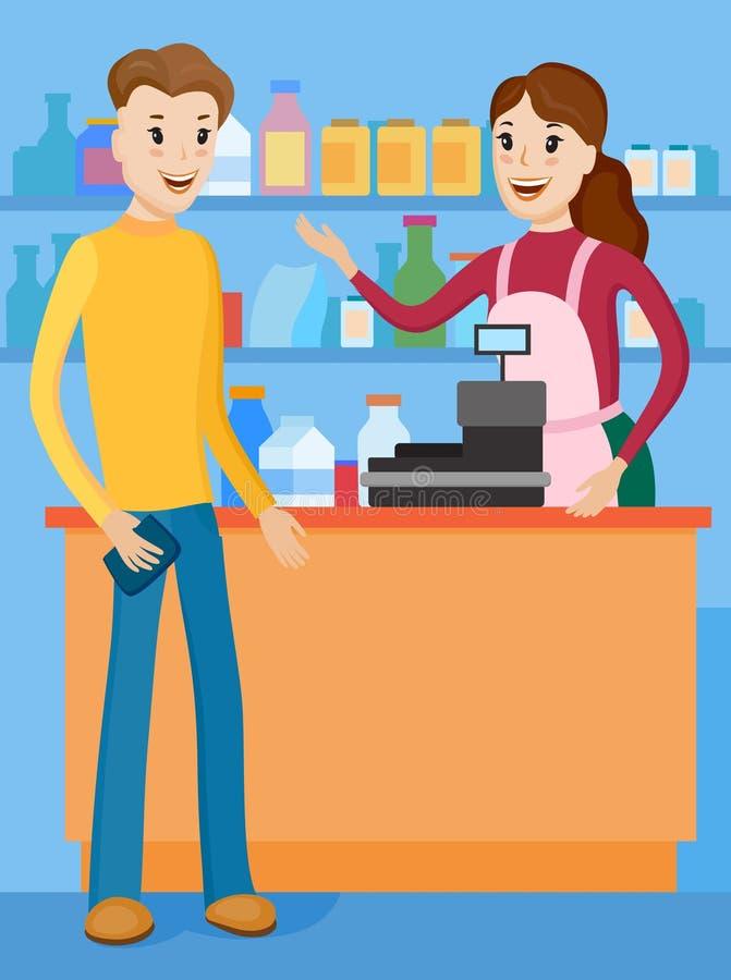 Encontre o vendedor com o comprador para o contador da loja ilustração royalty free