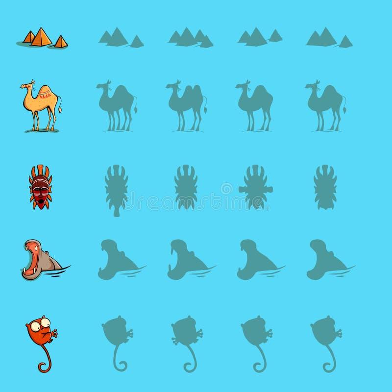 Encontre os jogos direitos do visual da sombra Cinco jogos ajustados Solução dentro ilustração do vetor
